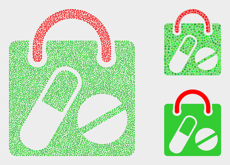 Dot and mosaic drugs shopping bag icons. Vector icon of drugs shopping bag combined of irregular round pixels. Other pictogram is combined from small squares. Archivio Fotografico - 125154156