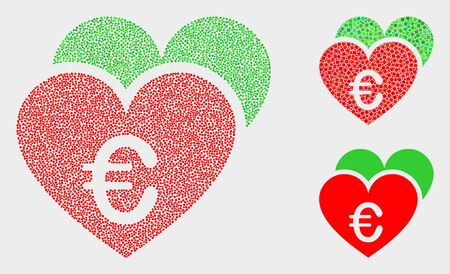 Dotted and mosaic euro love hearts icons. Vector icon of euro love hearts constructed of scattered spheric points. Other pictogram is constructed from square pixels.
