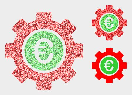 Pixelated and mosaic euro gear icons. Vector icon of euro gear formed of randomized spheric points. Other pictogram is formed from small squares.