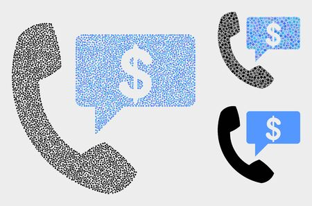 Pixel and mosaic financial phone message icons. Vector icon of financial phone message constructed of random spheric elements. Other pictogram is constructed from elements.