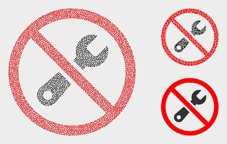 Dotted and mosaic forbidden repair icons. Vector icon of forbidden repair designed of random circle pixels. Other pictogram is designed from elements. Ilustrace