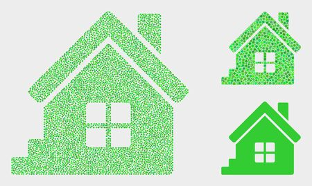 Dot and mosaic home icons. Vector icon of home combined of scattered round elements. Other pictogram is combined from square dots.