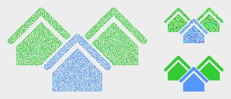 Pixelated and mosaic houses icons. Vector icon of houses formed of irregular spheric points. Other pictogram is combined from small rectangles.