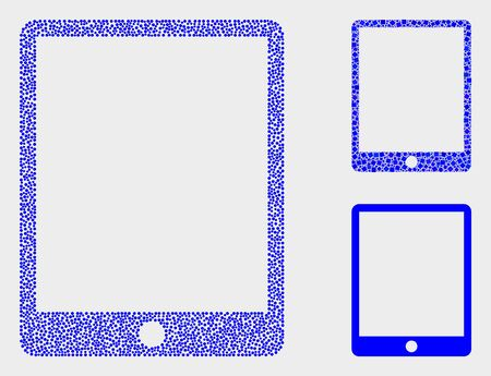 Dotted and mosaic mobile organizer icons. Vector icon of mobile organizer composed of scattered circle elements. Other pictogram is constructed from elements.