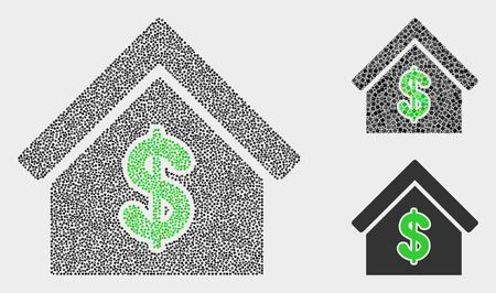 Pixel and mosaic rent house icons. Vector icon of rent house constructed with randomized circle elements. Other pictogram is constructed from elements.