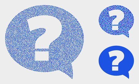 Dot and mosaic question icons. Vector icon of question formed of randomized circle elements. Other pictogram is designed from rectangle elements.