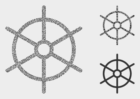 Pixelated and mosaic ship rule wheel icons. Vector icon of ship rule wheel formed of scattered round pixels. Other pictogram is formed from square particles.
