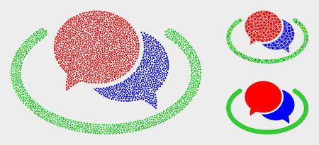 Pixelated and mosaic social network messages icons. Vector icon of social network messages combined with irregular round elements. Other pictogram is created from elements. Illustration