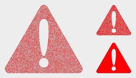 Pixelated and mosaic warning icons. Vector icon of warning combined with random circle dots. Other pictogram is combined from dots. Çizim