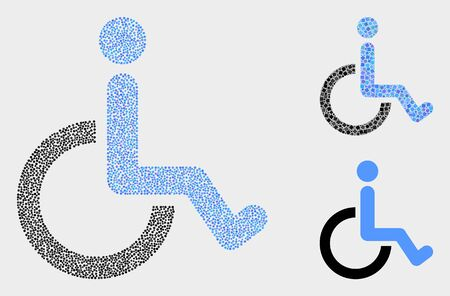 Dotted and mosaic wheelchair icons. Vector icon of wheelchair organized of random round dots. Other pictogram is organized from square dots.  イラスト・ベクター素材