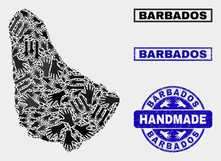Vector handmade collage of Barbados map and grunge stamp seals. Mosaic Barbados map is constructed with randomized hands. Blue stamp imprints with corroded rubber texture.