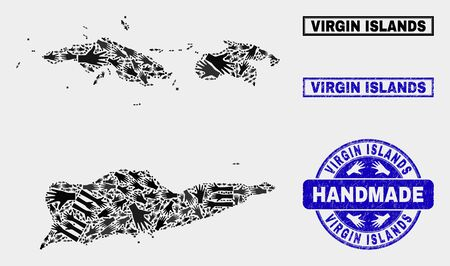 Vector handmade collage of American Virgin Islands map and rubber watermarks. Mosaic American Virgin Islands map is composed with randomized hands. Blue watermarks with corroded rubber texture.