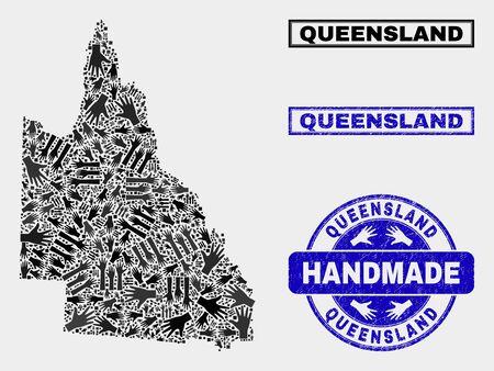 Vector handmade combination of Australian Queensland map and textured stamp seals. Mosaic Australian Queensland map is constructed with randomized hands. 일러스트