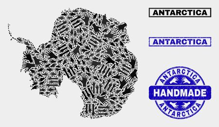 Vector handmade collage of Antarctica continent map and rubber stamp seals. Mosaic Antarctica continent map is formed with random hands. Blue stamp imprints with unclean rubber texture.