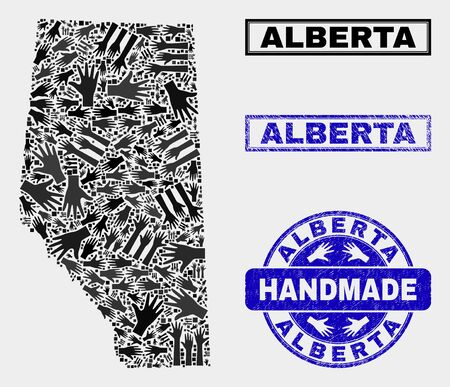 Vector handmade collage of Alberta Province map and rubber stamp seals. Mosaic Alberta Province map is designed of randomized hands. Blue seals with distress rubber texture.