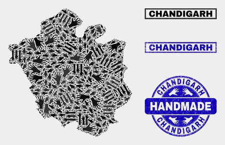 Vector handmade composition of Chandigarh City map and unclean stamp seals. Mosaic Chandigarh City map is designed with randomized hands. Blue stamp imprints with unclean rubber texture. Ilustração