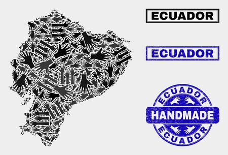 Vector handmade combination of Ecuador map and scratched seals. Mosaic Ecuador map is organized with scattered hands. Blue seals with scratched rubber texture.