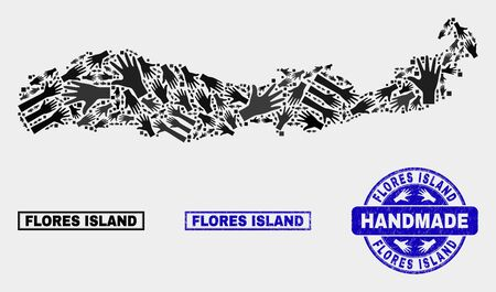 Vector handmade composition of Flores Island of Indonesia map and textured seals. Mosaic Flores Island of Indonesia map is made of randomized hands. Blue seals with unclean rubber texture.