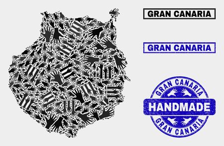 Vector handmade collage of Gran Canaria map and dirty stamp seals. Mosaic Gran Canaria map is designed of random hands. Blue seals with corroded rubber texture.