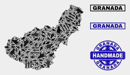 Vector handmade composition of Granada Province map and unclean stamp seals. Mosaic Granada Province map is composed with randomized hands. Blue stamp imprints with corroded rubber texture.  イラスト・ベクター素材