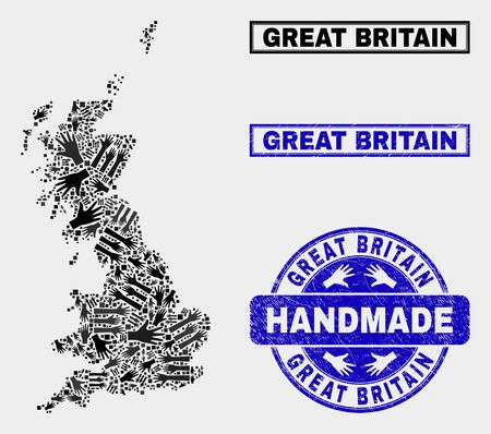 Vector handmade composition of Great Britain map and rubber stamp seals. Mosaic Great Britain map is designed with random hands. Blue seals with scratched rubber texture.
