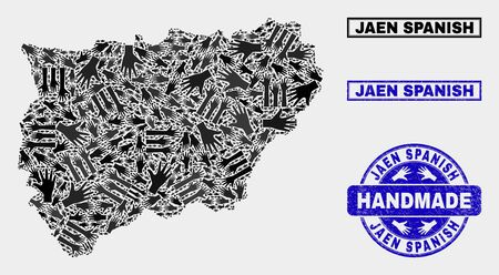 Vector handmade composition of Jaen Spanish Province map and textured stamp seals. Mosaic Jaen Spanish Province map is made of randomized hands. Blue seals with corroded rubber texture.