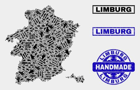 Vector handmade composition of Limburg Province map and grunge stamps. Mosaic Limburg Province map is created of scattered hands. Blue seals with grunge rubber texture. Ilustração