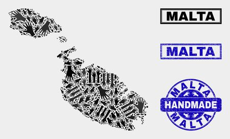 Vector handmade combination of Malta map and corroded watermarks. Mosaic Malta map is done of scattered hands. Blue watermarks with unclean rubber texture.