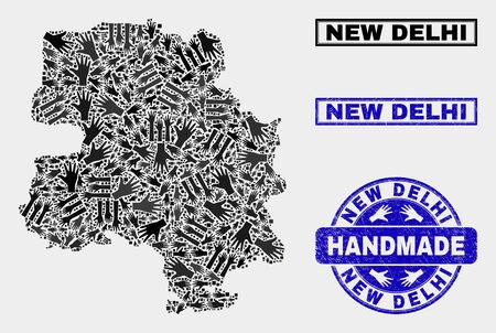 Vector handmade composition of New Delhi City map and rubber watermarks. Mosaic New Delhi City map is constructed of random hands. Blue watermarks with distress rubber texture. Illustration