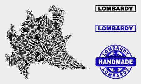 Vector handmade composition of Lombardy region map and unclean watermarks. Mosaic Lombardy region map is constructed of scattered hands. Blue watermarks with unclean rubber texture.