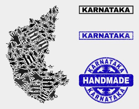 Vector handmade collage of Karnataka State map and rubber seals. Mosaic Karnataka State map is composed of randomized hands. Blue stamp imprints with grunge rubber texture.