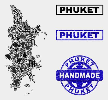 Vector handmade combination of Phuket map and rubber seals. Mosaic Phuket map is composed with randomized hands. Blue seals with scratched rubber texture.