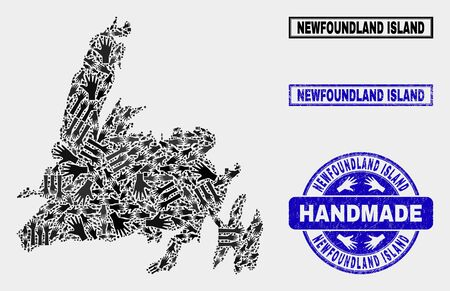 Vector handmade composition of Newfoundland Island map and textured watermarks. Mosaic Newfoundland Island map is constructed with randomized hands. Blue watermarks with corroded rubber texture. Banque d'images - 125493036