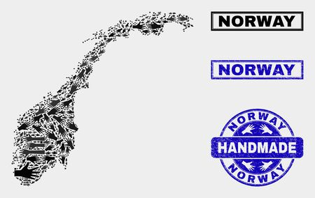 Vector handmade collage of Norway map and scratched stamp seals. Mosaic Norway map is constructed of random hands. Blue seals with grunge rubber texture.