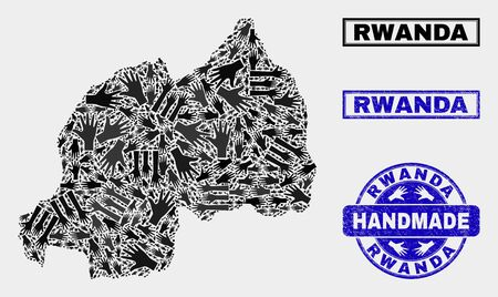 Vector handmade combination of Rwanda map and unclean seals. Mosaic Rwanda map is organized of scattered hands. Blue watermarks with unclean rubber texture. Illustration