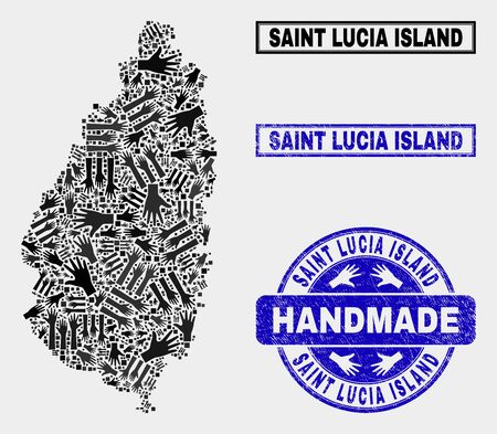 Vector handmade composition of Saint Lucia Island map and grunge seals. Mosaic Saint Lucia Island map is formed of scattered hands. Blue seals with unclean rubber texture. Illustration