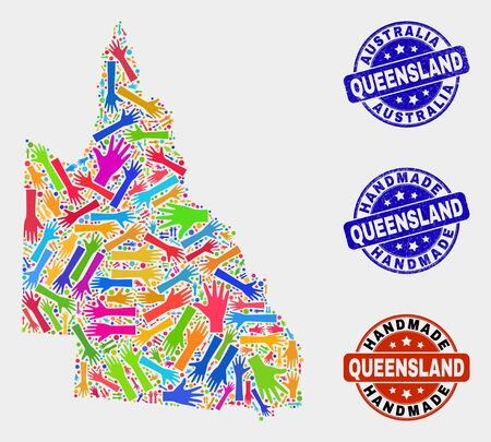 Vector handmade combination of Australian Queensland map and grunge stamp seals. Mosaic Australian Queensland map is made from randomized bright colorful hands.