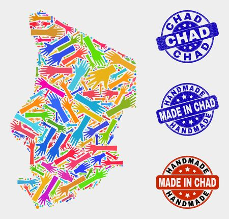 Vector handmade composition of Chad map and rubber stamps. Mosaic Chad map is composed from scattered bright colorful hands. Rounded seals with corroded rubber texture.