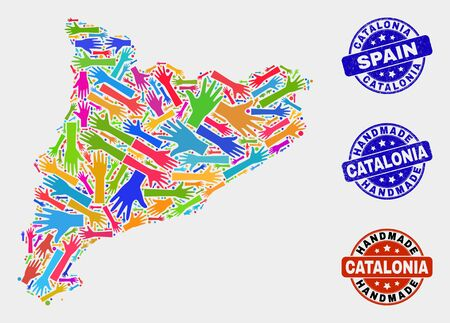 Vector handmade combination of Catalonia map and grunge seals. Mosaic Catalonia map is done of randomized bright colored hands. Rounded seals with unclean rubber texture. Illustration