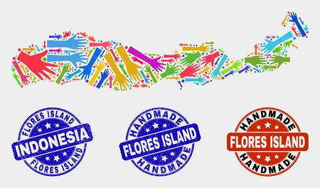 Vector handmade composition of Flores Island of Indonesia map and scratched stamp seals. Mosaic Flores Island of Indonesia map is organized of randomized bright colorful hands.