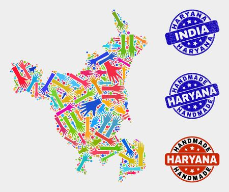Vector handmade combination of Haryana State map and rubber stamp seals. Mosaic Haryana State map is made of scattered bright colorful hands. Rounded stamp imprints with unclean rubber texture.