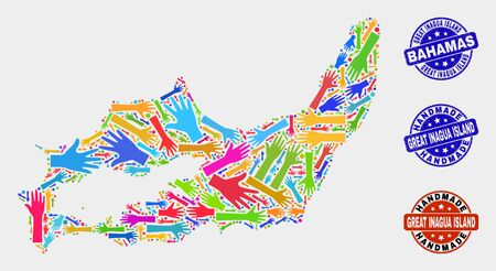 Vector handmade combination of Great Inagua Island map and corroded stamp seals. Mosaic Great Inagua Island map is created of randomized bright colored hands.