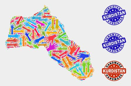 Vector handmade composition of Kurdistan map and scratched stamp seals. Mosaic Kurdistan map is made of randomized bright colored hands. Rounded stamp imprints with scratched rubber texture.