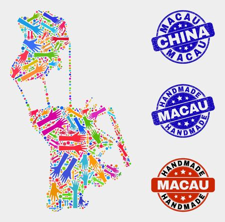 Vector handmade composition of Macau map and corroded seals. Mosaic Macau map is composed of random bright colored hands. Rounded seals with distress rubber texture.