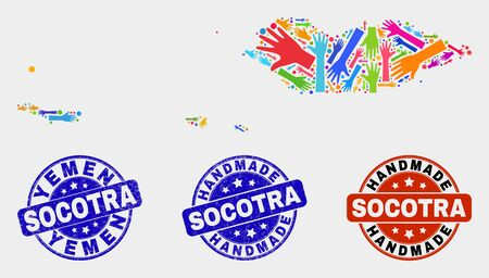 Vector handmade composition of Socotra Archipelago map and textured stamp seals. Mosaic Socotra Archipelago map is created of scattered bright colored hands.