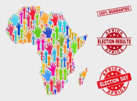 Election Africa map and seals. Red rectangular 100% Guarantee textured seal. Colorful Africa map mosaic of raised up electoral arms. Vector combination for election day, and referendum results.