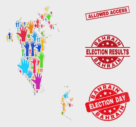 Election Bahrain map and seals. Red rectangular Allowed Access grunge seal. Colored Bahrain map mosaic of upwards solution hands. Vector collage for election day, and referendum results.