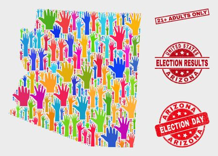 Ballot Arizona State map and seal stamps. Red rectangle 21  Adults Only textured stamp. Bright Arizona State map mosaic of raised election hands. Vector combination for election day, Illustration