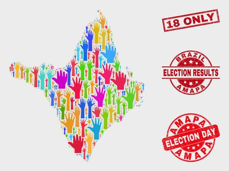 Electoral Amapa state map and stamps. Red rectangular 18 Only scratched stamp. Colored Amapa state map mosaic of raised up electoral hands. Vector composition for election day, and ballot results.