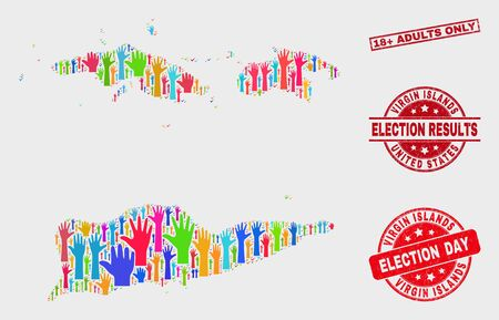 Political American Virgin Islands map and seal stamps. Red rectangular 18  Adults Only scratched watermark. Colored American Virgin Islands map mosaic of upwards election arms.
